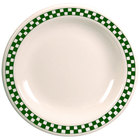 Homer Laughlin 2121708 Green Checkers 6 1/2 inch Ivory (American White) Narrow Rim Plate - 36/Case