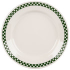 Homer Laughlin 2041708 Green Checkers 8 1/4 inch Ivory (American White) Rolled Edge Plate - 36/Case