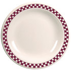 Homer Laughlin 2121791 Maroon Checkers 6 1/2 inch Ivory (American White) Narrow Rim Plate - 36/Case