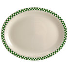 Homer Laughlin 1581708 Green Checkers 15 5/8 inch x 11 1/4 inch Ivory (American White) Rolled Edge Oval Platter - 12/Case