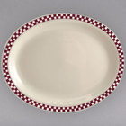 Homer Laughlin 1521791 Maroon Checkers 8 1/8 inch x 5 3/4 inch Ivory (American White) Rolled Edge Oval Platter - 36/Case