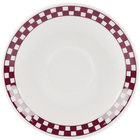 Homer Laughlin 2851791 Maroon Checkers 4 7/8 inch Ivory (American White) A.D. Demitasse Saucer - 36/Case