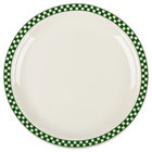 Homer Laughlin 2171708 Green Checkers 10 1/2 inch Ivory (American White) Narrow Rim Plate - 12/Case