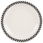 Homer Laughlin 2141636 Black Checkers 8 1/4 inch Ivory (American White) Narrow Rim Plate - 36/Case