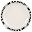 Homer Laughlin 2141636 Black Checkers 8 1/4 inch Ivory (American White) Narrow Rim Plate - 36/Case