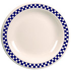 Homer Laughlin 2061790 Cobalt Checkers 9 5/8 inch Ivory (American White) Rolled Edge Plate - 24/Case