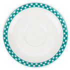 Homer Laughlin 2821789 Turquoise Checkers 6 inch Ivory (American White) Boston Saucer - 36/Case