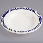 Homer Laughlin 2551790 Cobalt Checkers 6 oz. Ivory (American White) Rimmed Rolled Edge Soup Bowl - 24/Case
