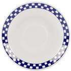 Homer Laughlin 2851790 Cobalt Checkers 4 7/8 inch Ivory (American White) A.D. Demitasse Saucer - 36/Case