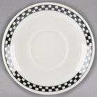 Homer Laughlin 2811636 Black Checkers 5 1/2 inch Ivory (American White) Ship Saucer - 36/Case