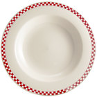 Homer Laughlin 3805413 Scarlet Checkers 20 oz. Ivory (American White) Rimmed Rolled Edge Pasta Bowl - 12/Case