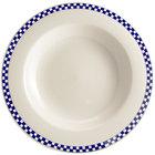 Homer Laughlin 3801790 Cobalt Checkers 20 oz. Ivory (American White) Rimmed Rolled Edge Pasta Bowl - 12/Case
