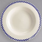 Homer Laughlin 3801790 Cobalt Checkers 20 oz. Ivory (American White) Rimmed Rolled Edge Pasta Bowl - 12/Case
