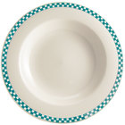 Homer Laughlin 3801789 Turquoise Checkers 20 oz. Ivory (American White) Rimmed Rolled Edge Pasta Bowl - 12/Case