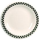 Homer Laughlin 2151636 Black Checkers 8 3/4 inch Ivory (American White) Narrow Rim Plate - 24/Case