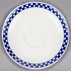 Homer Laughlin 2821790 Cobalt Checkers 6 inch Ivory (American White) Boston Saucer - 36/Case