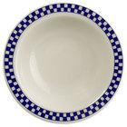 Homer Laughlin 1651790 Cobalt Checkers 3.25 oz. Ivory (American White) Narrow Rim Fruit Dish - 36/Case