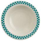 Homer Laughlin 1651789 Turquoise Checkers 3.25 oz. Ivory (American White) Narrow Rim Fruit Dish - 36/Case