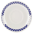 Homer Laughlin 2811790 Cobalt Checkers 5 1/2 inch Ivory (American White) Ship Saucer - 36/Case