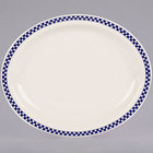 Homer Laughlin 2601790 Cobalt Checkers 11 3/8 inch x 9 inch Ivory (American White) Narrow Rim Oval Platter - 12/Case