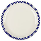 Homer Laughlin 2171790 Cobalt Checkers 10 1/2 inch Ivory (American White) Narrow Rim Plate - 12/Case