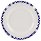 Homer Laughlin 4441790 Cobalt Checkers 10 5/8 inch Ivory (American White) Rolled Edge Plate - 12/Case