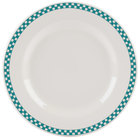 Homer Laughlin 4441789 Turquoise Checkers 10 5/8 inch Ivory (American White) Rolled Edge Plate - 12/Case