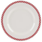 Homer Laughlin 4445413 Scarlet Checkers 10 5/8 inch Ivory (American White) Rolled Edge Plate - 12/Case