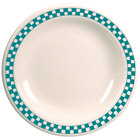 Homer Laughlin 2131789 Turquoise Checkers 7 1/4 inch Ivory (American White) Narrow Rim Plate - 36/Case