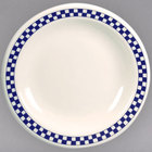Homer Laughlin 2251790 Cobalt Checkers 9 3/4 inch Ivory (American White) Narrow Rim Plate - 12/Case