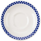Homer Laughlin 2831790 Cobalt Checkers 5 1/2 inch Ivory (American White) Texas Saucer - 36/Case