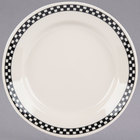 Homer Laughlin 2041636 Black Checkers 8 1/4 inch Ivory (American White) Rolled Edge Plate - 36/Case