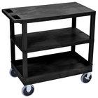 Luxor EC221HD-B Black 1 Tub and 2 Flat Shelf Utility Cart - 32 inch x 18 inch