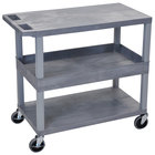 "Luxor EC212-G Gray 1 Tub and 2 Flat Shelf Utility Cart - 32"" x 18"""
