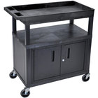Luxor EC122C-B Black 1 Cabinet, 1 Tub, and 1 Flat Shelf Utility Cart - 32 inch x 18 inch