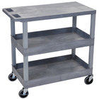 "Luxor EC211-G Gray 2 Tub and 1 Flat Shelf Utility Cart - 32"" x 18"""