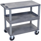 Luxor EC212HD-G Gray 1 Tub and 2 Flat Shelf Utility Cart - 32 inch x 18 inch