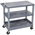 Luxor EC221-G Gray 1 Tub and 2 Flat Shelf Utility Cart - 32 inch x 18 inch