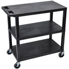 Luxor EC222-B Black 3 Flat Shelf Utility Cart - 32