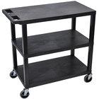Luxor / H. Wilson EC222-B Black 3 Flat Shelf Utility Cart - 32 inch x 18 inch