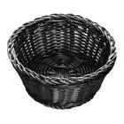 Tablecraft M2477 Black Round Rattan Basket 7 inch x 3 1/4 inch