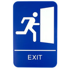 9 inch x 6 inch Blue and White Exit Sign with Braille
