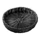 Tablecraft HM2469 Black Round Rattan Basket 12 inch x 2 inch