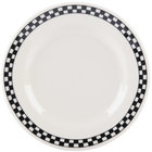 Homer Laughlin 2031636 Black Checkers 7 1/8 inch Ivory (American White) Rolled Edge Plate - 36/Case