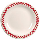 Homer Laughlin 2125413 Scarlet Checkers 6 1/2 inch Ivory (American White) Narrow Rim Plate - 36/Case