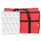Choice Insulated Food Delivery Bag / Pan Carrier with Microcore Thermal Hot or Cold Pack Kit, Red Nylon, 23 inch x 13 inch x 15 inch