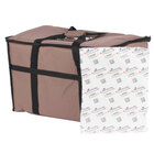 Choice Insulated Food Delivery Bag / Pan Carrier with Microcore Thermal Hot or Cold Pack Kit, Brown Nylon, 23 inch x 13 inch x 15 inch