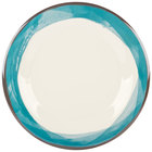 GET WP-10-DI-KNB Kanello 10 1/2 inch Round Diamond Ivory Wide Rim Melamine Plate with Kanello Blue Edge - 12/Pack