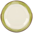 GET WP-10-DI-KNG Kanello 10 1/2 inch Round Diamond Ivory Wide Rim Melamine Plate with Kanello Green Edge   - 12/Pack