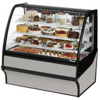 True TDM-R-48-GE/GE 48 inch Stainless Steel Curved Glass Refrigerated Bakery Display Case with Stainless Steel Interior